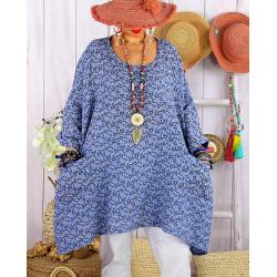 Tunique longue grande taille liberty CHARLINE Bleu-Tunique femme grande taille-CHARLESELIE94