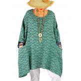 Tunique longue grande taille liberty CHARLINE Amande-Tunique femme grande taille-CHARLESELIE94