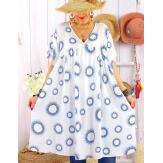 Robe tunique grande taille été bohème SAMBA Blanche-Robe tunique femme grande taille-CHARLESELIE94