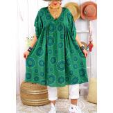 Robe tunique grande taille été bohème SAMBA Vert-Robe tunique femme grande taille-CHARLESELIE94