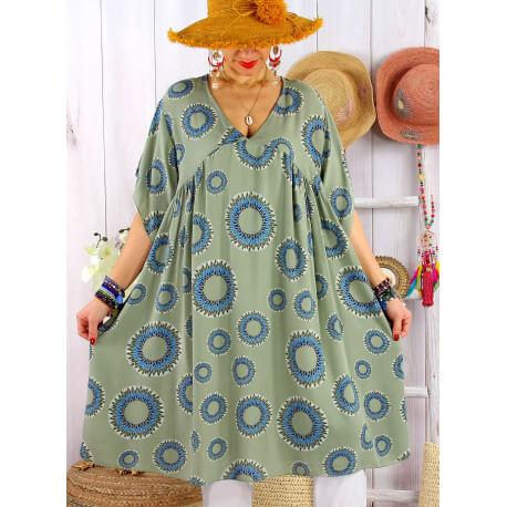 Robe tunique grande taille été bohème SAMBA Kaki Robe tunique femme grande taille
