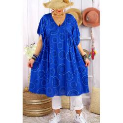 Robe tunique grande taille été bohème SAMBA Bleu roi-Robe tunique femme grande taille-CHARLESELIE94