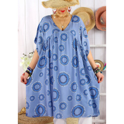 Robe tunique grande taille été bohème SAMBA Bleu jean-Robe tunique femme grande taille-CHARLESELIE94