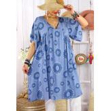 Robe tunique grande taille été bohème SAMBA Bleu jean Robe tunique femme grande taille