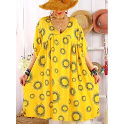 Robe tunique grande taille été bohème SAMBA Jaune-Robe tunique femme grande taille-CHARLESELIE94
