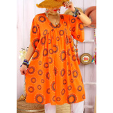 Robe tunique grande taille été bohème SAMBA Orange Robe tunique femme grande taille
