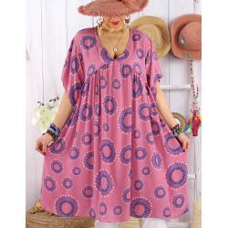 Robe tunique grande taille bohème SAMBA Vieux rose-Robe tunique femme grande taille-CHARLESELIE94