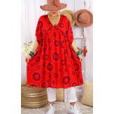 Robe tunique grande taille été bohème SAMBA Rouge Robe tunique femme grande taille