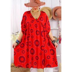 Robe tunique grande taille bohème SAMBA Rouge-Robe tunique femme grande taille-CHARLESELIE94