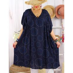Robe tunique grande taille bohème SAMBA Marine-Robe tunique femme grande taille-CHARLESELIE94