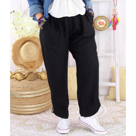 Pantalon femme grande taille lin original noir FEMINA-Pantalon femme-CHARLESELIE94