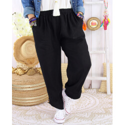 Pantalon femme grande taille lin original été FEMINA noir Pantalon femme