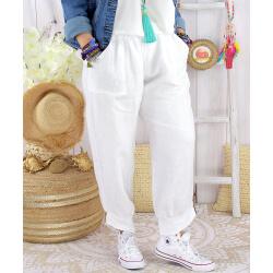 Pantalon femme grande taille lin blanc FEMINA Pantalon femme