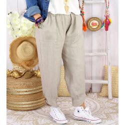 Pantalon femme grande taille lin FEMINA beige taupe Pantalon femme