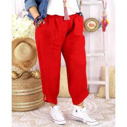 Pantalon femme grande taille lin rouge FEMINA-Pantalon femme-CHARLESELIE94