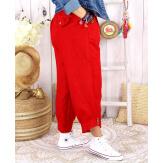 Pantalon femme grande taille lin été FEMINA rouge Pantalon femme
