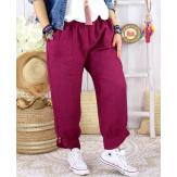 Pantalon femme grande taille lin FEMINA Prune-Pantalon femme-CHARLESELIE94