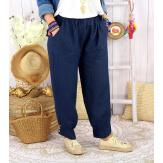 Pantalon femme grande taille lin FEMINA bleu marine Pantalon femme