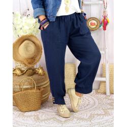 Pantalon femme grande taille lin bleu marine FEMINA-Pantalon femme-CHARLESELIE94