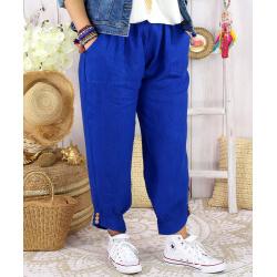 Pantalon femme grande taille lin FEMINA Bleu royal-Pantalon femme-CHARLESELIE94