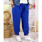 Pantalon femme grande taille lin été FEMINA Bleu royal Pantalon femme