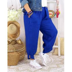 Pantalon femme grande taille lin FEMINA Bleu royal Pantalon femme