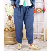 Pantalon femme grande taille lin original bleu FEMINA-Pantalon femme-CHARLESELIE94