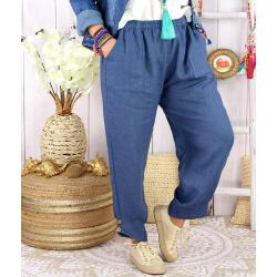 Pantalon femme grande taille lin original FEMINA bleu Pantalon femme