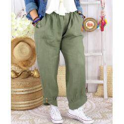 Pantalon femme grande taille lin original kaki FEMINA Pantalon femme