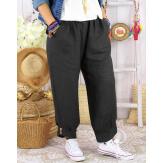 Pantalon femme grande taille lin original gris FEMINA-Pantalon femme-CHARLESELIE94