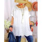 Tunique été grande taille broderies dentelle LADY Blanc-Tunique été femme-CHARLESELIE94