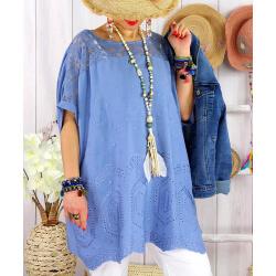 Tunique été grande taille broderies dentelle LADY Bleu-Tunique été femme-CHARLESELIE94