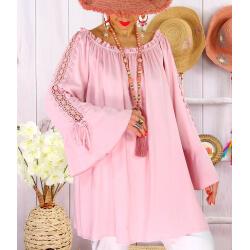 Blouse épaules dénudées grande taille été EVITA Rose-Tunique femme grande taille-CHARLESELIE94