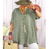 Tunique longue grande taille été coton liberty ALDO Kaki Tunique été femme
