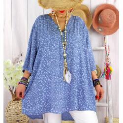 Tunique longue grande taille liberty ALDO Bleu jean-Tunique été femme-CHARLESELIE94