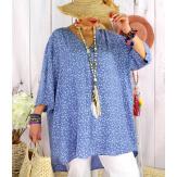 Tunique longue grande taille été liberty ALDO bleu jean Tunique été femme