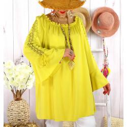 Blouse épaules dénudées grande taille été EVITA Jaune-Tunique femme grande taille-CHARLESELIE94