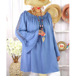 Blouse épaules dénudées grande taille été EVITA Bleu-Tunique femme grande taille-CHARLESELIE94