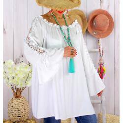 Blouse épaules dénudées grande taille été EVITA Blanc-Tunique femme grande taille-CHARLESELIE94