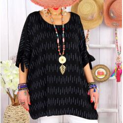 Tunique grande taille été graphique OASIS Noir-Tunique femme grande taille-CHARLESELIE94