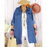 Chemise longue en jean tencel CINEMA Indigo Chemise femme grande taille