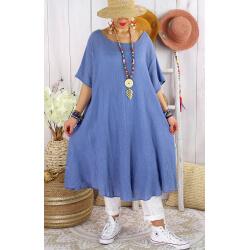 Robe femme été grandes tailles coton MADALENA Bleu-Robe été grande taille-CHARLESELIE94