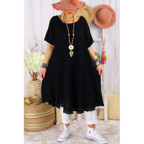 Robe femme été grandes tailles coton MADALENA Noir-Robe été grande taille-CHARLESELIE94