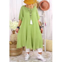 Robe femme été grandes tailles coton MADALENA Pomme-Robe été grande taille-CHARLESELIE94