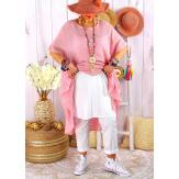 Robe femme été grandes tailles coton MADALENA Rose-Robe été grande taille-CHARLESELIE94