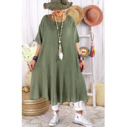 Robe femme été grandes tailles coton MADALENA Kaki-Robe été grande taille-CHARLESELIE94