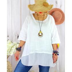 T- shirt femme grande taille été coton lin JESSE Blanc-Tee shirt tunique femme grande taille-CHARLESELIE94