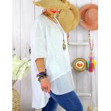 T- shirt femme grande taille été coton lin JESSE Blanc Tee shirt tunique femme grande taille
