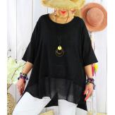 T- shirt femme grande taille été coton lin JESSE Noir Tee shirt tunique femme grande taille