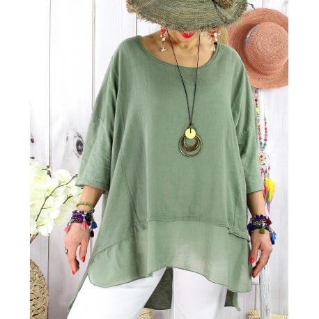 T- shirt femme grande taille été coton lin JESSE Kaki Tee shirt tunique femme grande taille